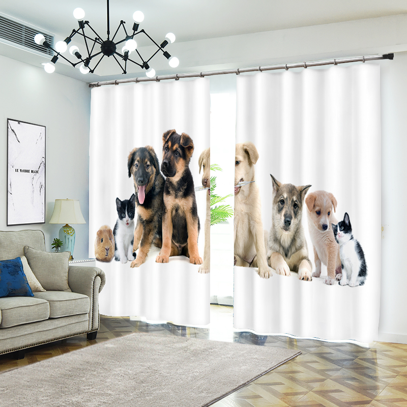 Big Collection of Pets 3D Curtains for Kids Bedding Room Living Room Modern Curtains Beding Room High-precision Shade