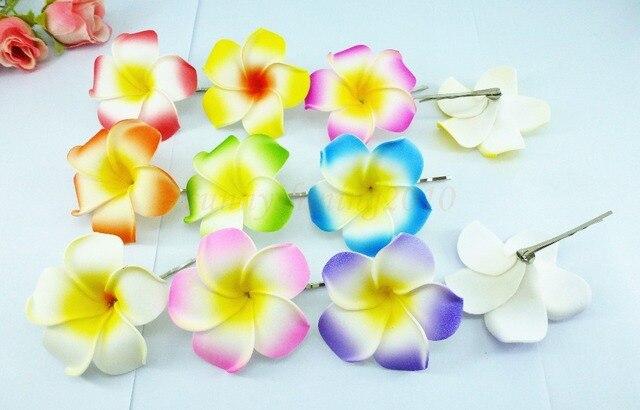 50 Nouveaux Mousse De Couleur Melangee Hawaien Plumeria Fleur