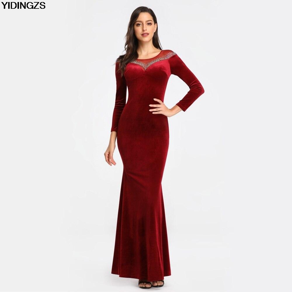 YIDINGZS вельветовое однотонное вечернее платье с длинными рукавами, глажка, украшенное кристаллами, вечернее платье, настоящее простое