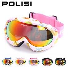 ПОЛИЗ Дети дети Лыжи сноуборд очки Поляризованные двойной Анти-туман объектив катание на лыжах очки снегоход слоем, 4 цвета