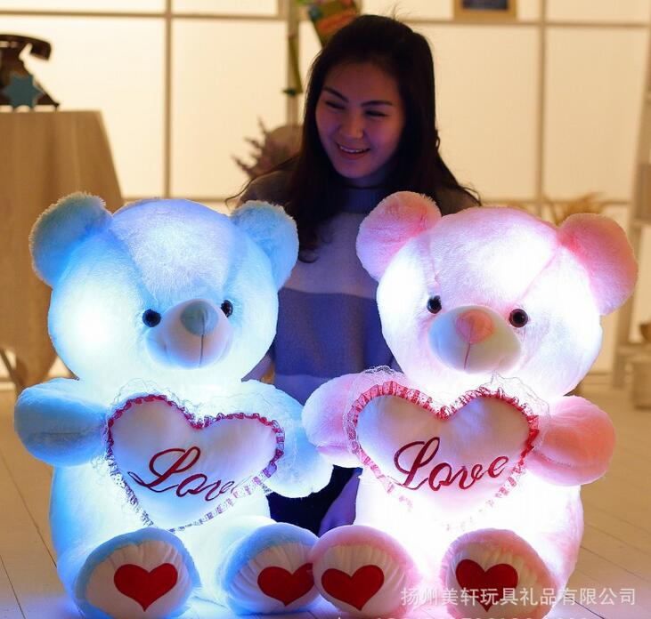 High Quality Colorful Change Bear Luminous Pillow Soft Plush Pillow Led Light Pillow Kids Toys letter word printing soft plush square pillow case