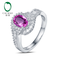 Caimao 1 18ct Pink Sapphire Halo Pave Diamonds 18K White Gold Engagement Ring Free Shipping