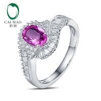 Caimao 1.18ct Zaffiro Rosa Halo Pave Diamanti 18 K Oro Bianco Anello di Fidanzamento Spedizione gratuita