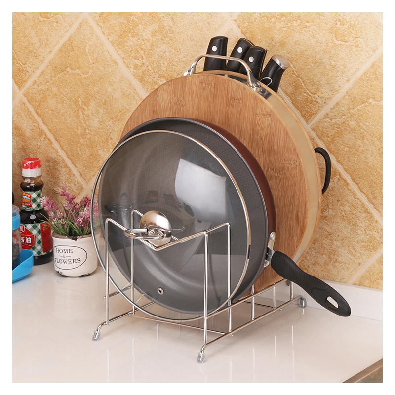 Metal Kitchen Storage Rack Ror Cutting Board Knife Lid Multifunctional Drying Stainless Steel Kitchen Organize Holder Three Grid