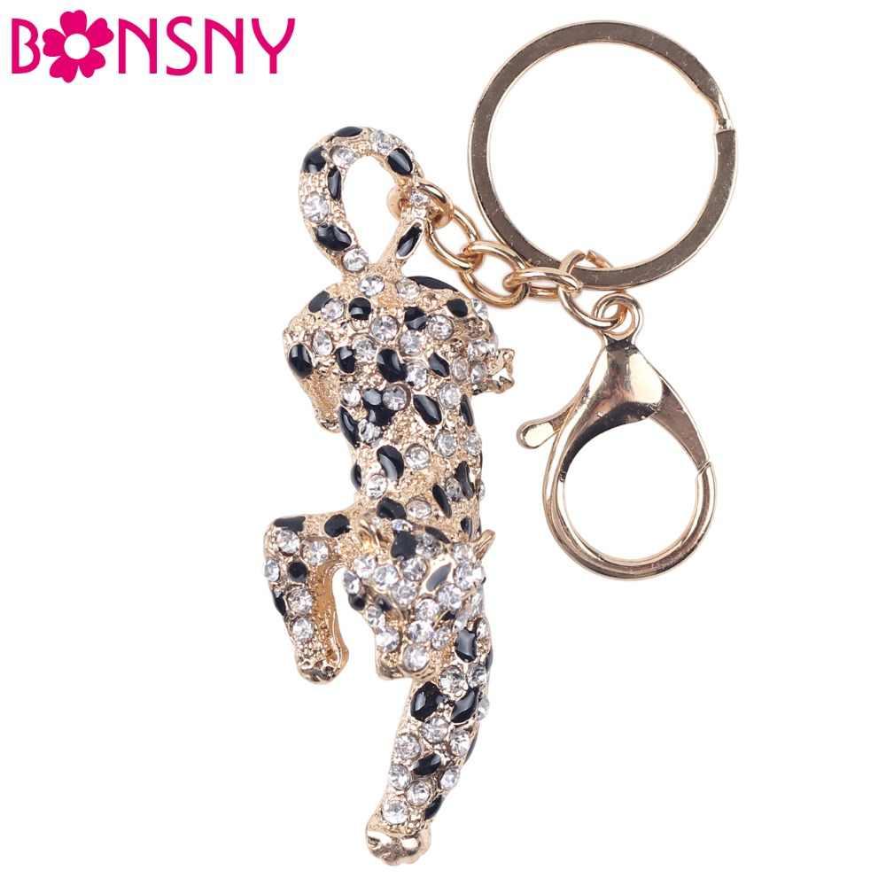 Bonsny 2017 Aleación de esmalte jungla Cheetah leopardo llavero Pom regalo para mujer chica bolso encanto llavero colgante joyería