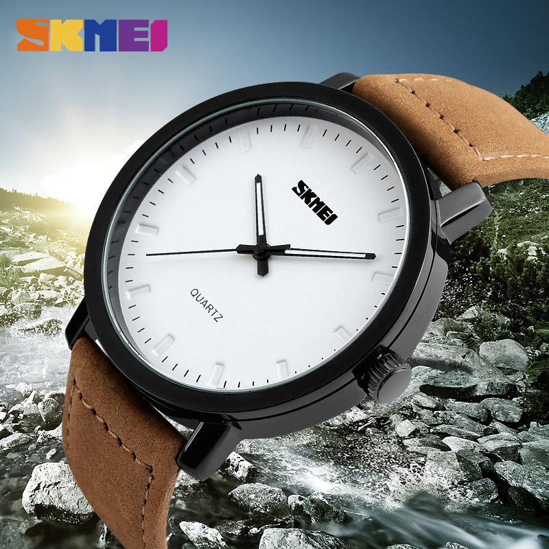 SKMEI Fashion Casual Mens Watches Top Brand Luxury Leather Strap 3Bar Waterproof Quartz Wristwatches Relogio Masculino 2019