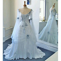 Vintage Celtic Wedding Dress White and Pale Blue Colorful Medieval Bridal Gowns Scoop Corset Long Sleeves Appliques Flowers