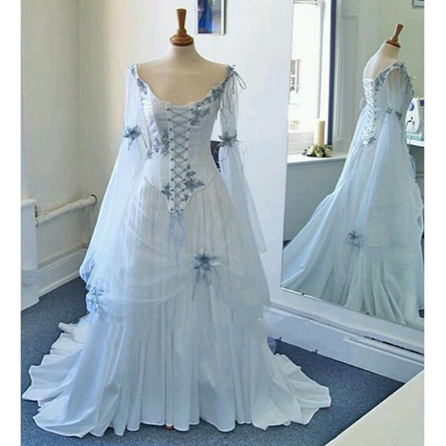 Vintage Celtic Wedding Dress White And Pale Blue Colorful Medieval