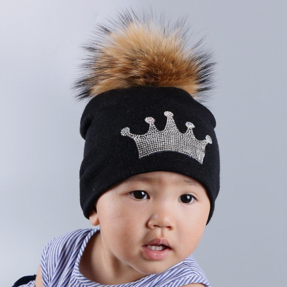 0 to 3 year old baby knitted winter hat cap girl boy kids cotton fuchsia mink fur pompom children crown beanies casual skullies