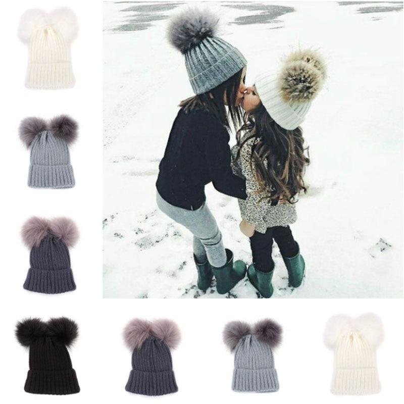 Children Autumn Winter Knitted Hat Plush Ball Warm Soft Beanies Hat H9