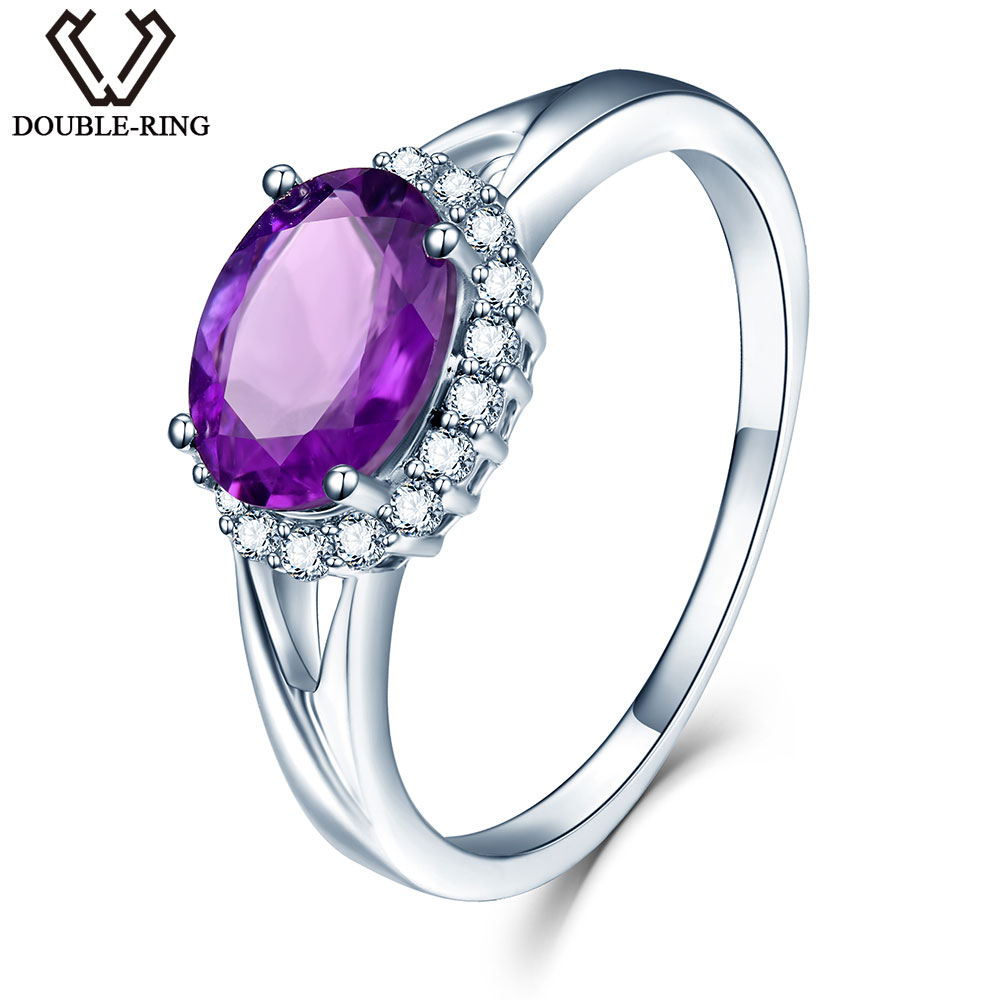 DOUBLE R 925 Sterling Silver Oval Natural Amethyst