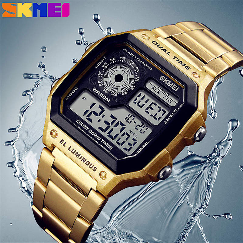 SKMEI Men Sports Watches Count Down Swim Waterproof Watch Stainless Steel Fashion Digital Wristwatches Male Clock Diving Relogio