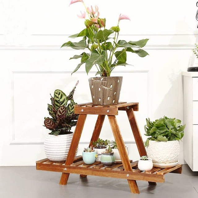 Sitting Room Plant Rack Stand Wooden Flower Display Stands 2 Tier Home Garden Shelves For Plants