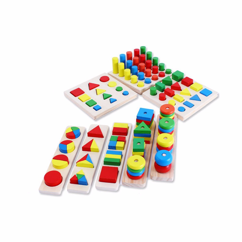 8pcs/Set Baby Montessori Sensorial Wooden Toys Blocks Early Childhood Education Preschool Training Toy Gifts For Kids Children kid s soft montessori wooden mini number house number shape matching blocks toy set early educational gift for kids