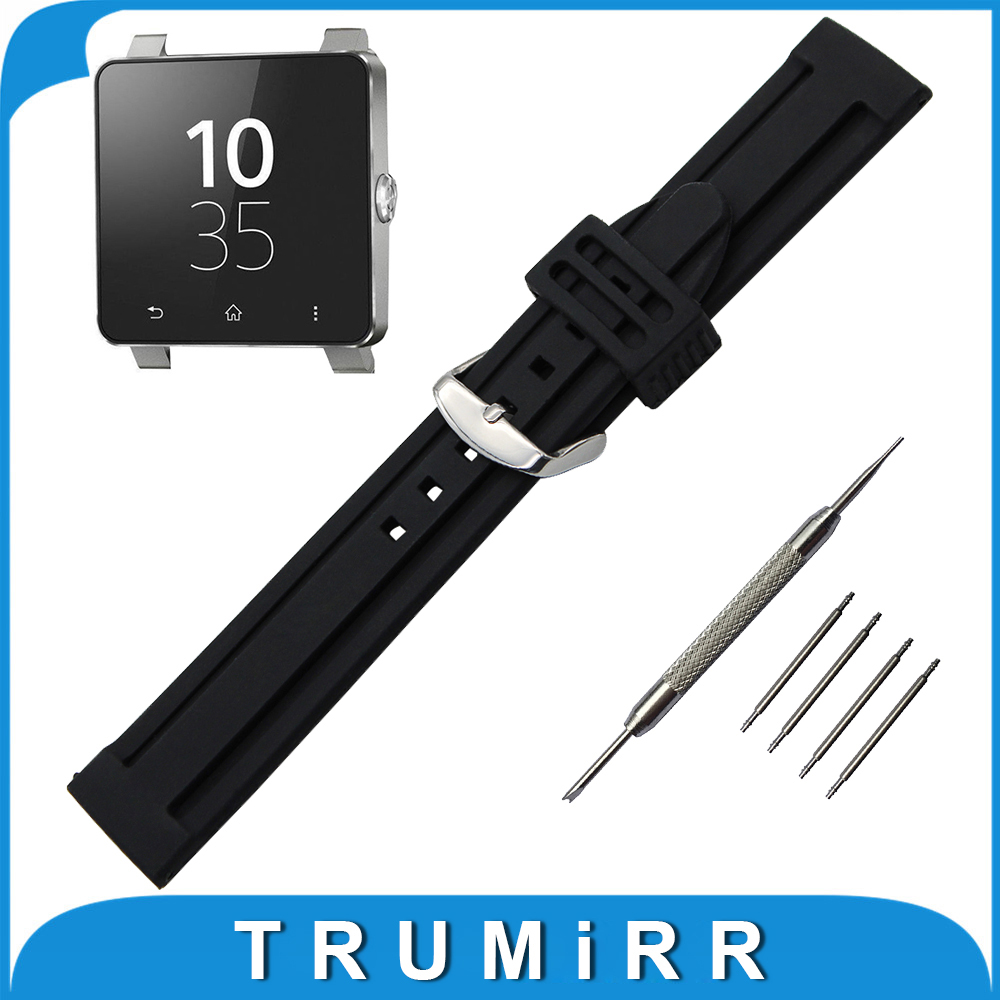 24mm Silicone Rubber Watch Band +Tool for Sony Samrtwatch 2 SW2 Replacement Strap Pin Buckle Watchband Wrist Belt Bracelet Black 24mm silicone rubber watch band tool for sony smartwatch 2 sw2 replacement watchband pin clasp strap wrist belt bracelet black