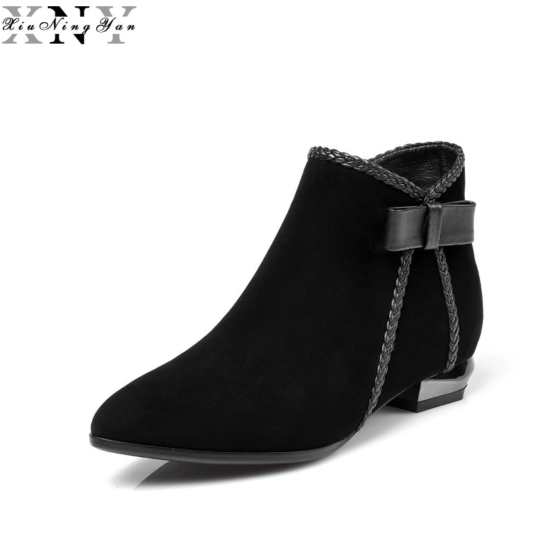 XiuNingYan Women Ankle Boots Genuine Leather Pointed Toe Platform Martin Boots Autumn Winter Fashion Casual Zipper Women Boots autumn winter women boots fashion flat heel casual zipper ankle boots genuine leather round toe platform martin boots k573