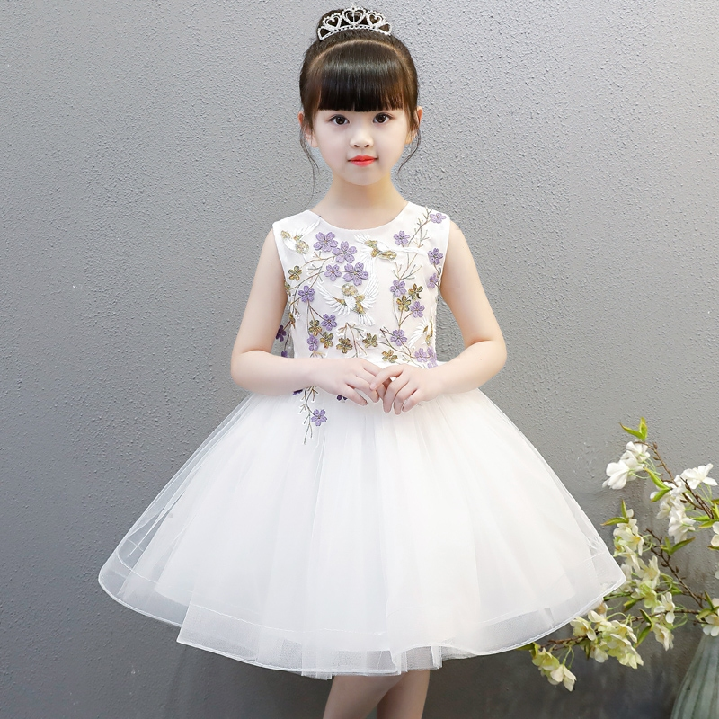 Summer New Luxury Children Girls Embroidery Flowers Birthday Wedding Party Ball Gown Dress Kids Babies Dance Tutu White Dress cute green princes puffy tutu dress children girls ball gown dress add multilayer flowers handmade tutu dress for wedding party