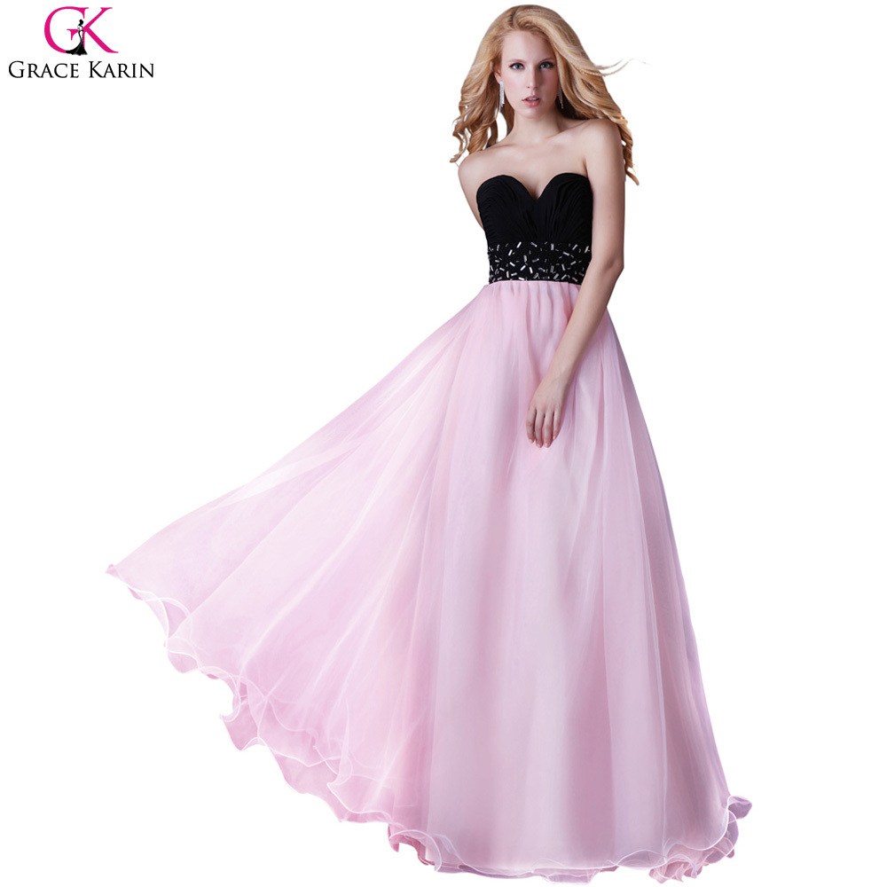 Robe de soirée largo grace karin sin tirantes de las señoras rosa y ...