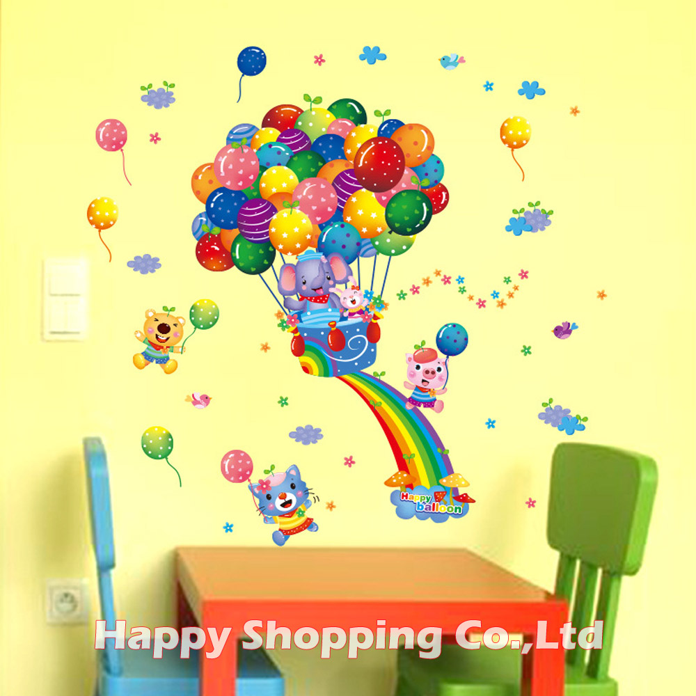 New Arrival Colorful Rainbow Happy Balloon PVC Wall Stickers For ...