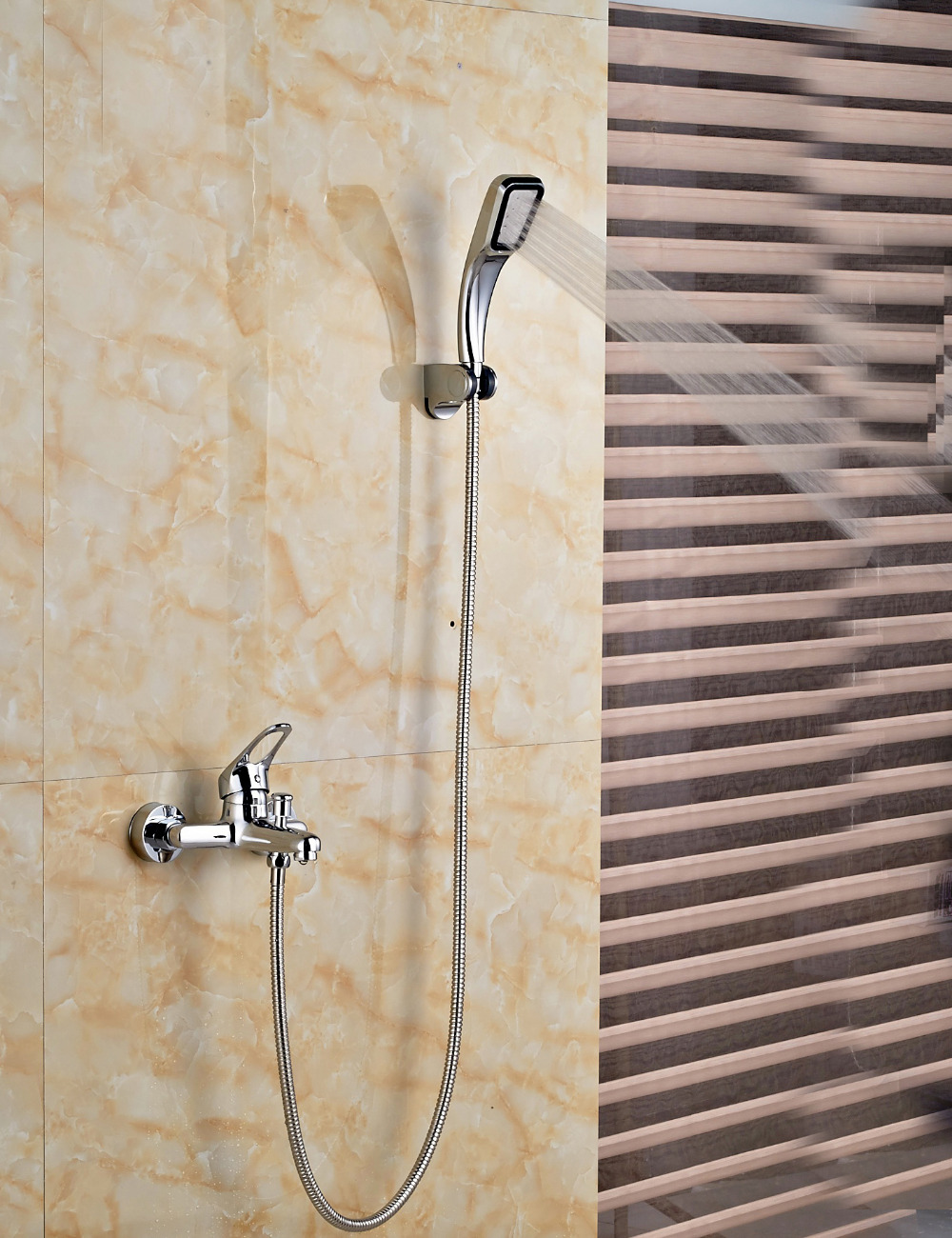 Wholesale And Retail Polished Chrome Finish Bathroom Tub Faucet Wall Mounted Shower Hand Sprayer Single Handle Valve wholesale and retail wall mounted thermostatic valve mixer tap shower faucet 8 sprayer hand shower