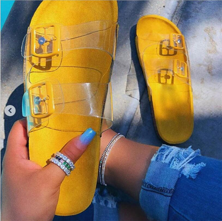 2019 New Women Slipper Summer Open Toe Belt Buckle Flat Slippers Ladies Snake Shallow Casual Beach Slide Woman Shoes Dropship in Slippers from Shoes
