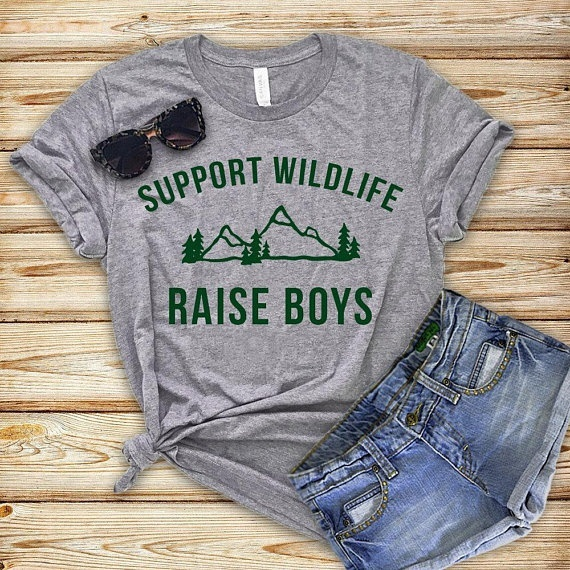 a28cf6ee PUDO-JBH Support Wildlife Raise Boys Shirt Boy Mom Shirt Workout Shirt Cute  Graphic Tee Mom Shirt Gift For Mom