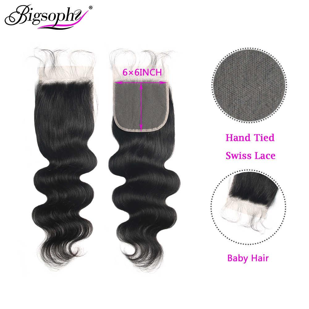 Cabello malayo 6x6 Cierre de encaje onda del cuerpo Cierre de encaje suizo 100% cabello humano Remy cierre con pelo de bebé Color Natural