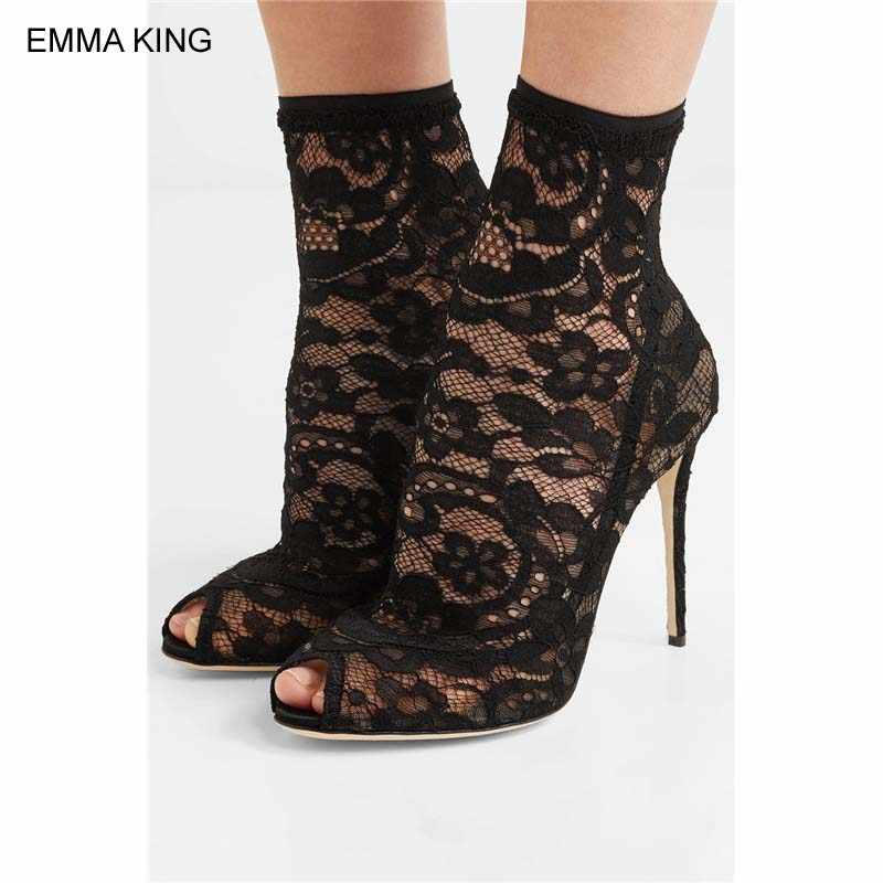55acfa94ca206f EMMA KING Stretch Lace Sock Ankle Boots Women Peep Toe Thin High Heels  Mujer Autumn Booties