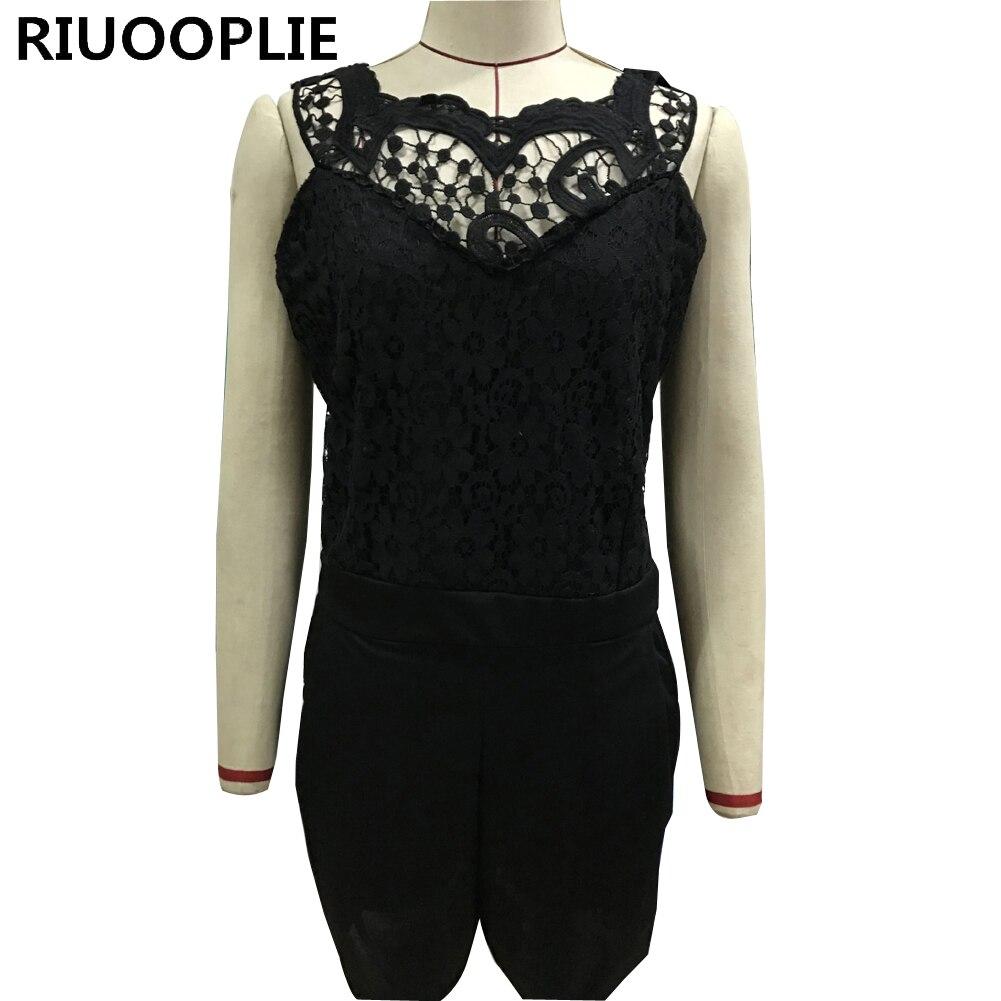 RIUOOPLIE Women Sexy Lace Splicing Leaking Back Slim Jumpsuits Shorts Beach Bodysuit