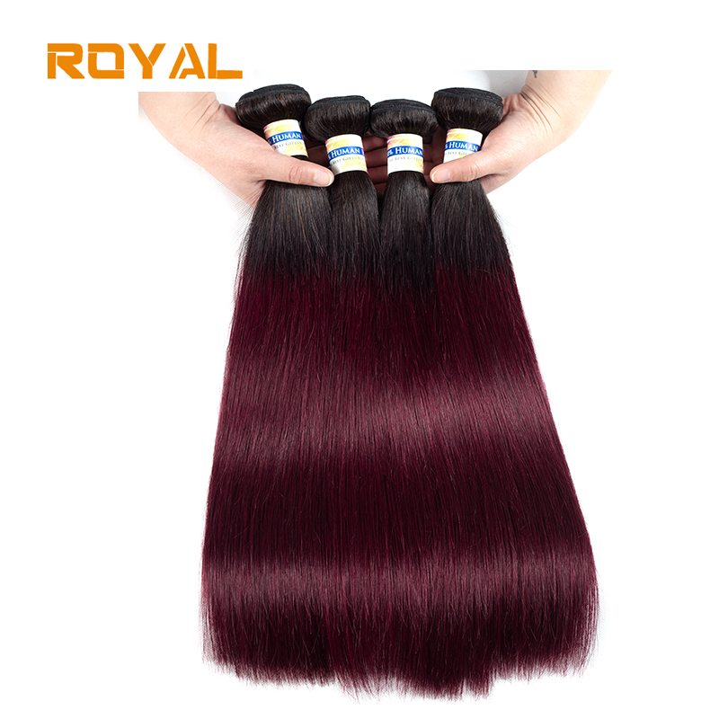 Pre-Colored 4Pcs Straight Ombre Human Hair Weft Bundles 1B/99j Color Peruvian Non Remy Natural Human Hair Weave Royal