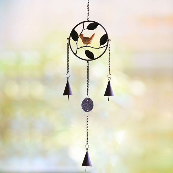 Zakka! European Vintage Style Round Metal Wind Chime Resin Bird Design Wind Bells Door Bell Home & Garden Deocration