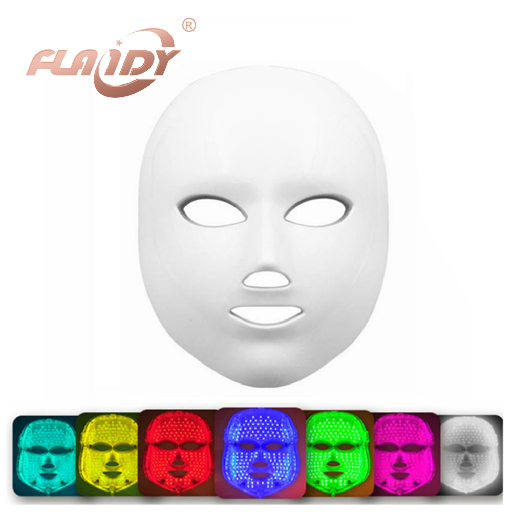 7 Colors Light Photon Electric LED Facial Mask Skin PDT Skin Rejuvenation Anti Acne Wrinkle Removal Therapy Beauty Salon rechargeable pdt heating led photon bio light therapy skin care facial rejuvenation firming face beauty massager machine