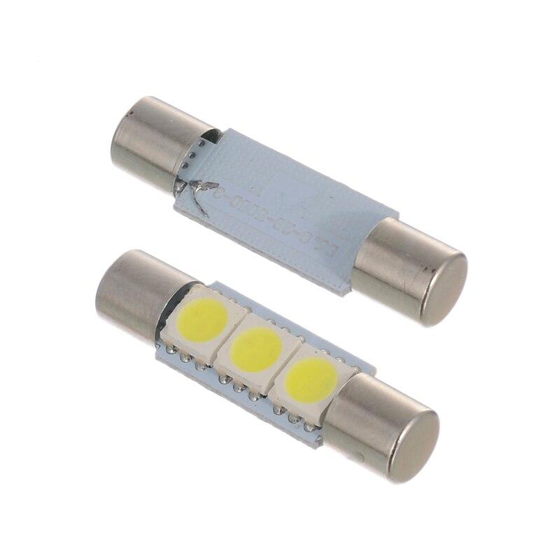 10X LED 5050 3SMD Fuse Vanity Mirror Light Bulb For 6641 TS-14V1CP Car 29mmWhite