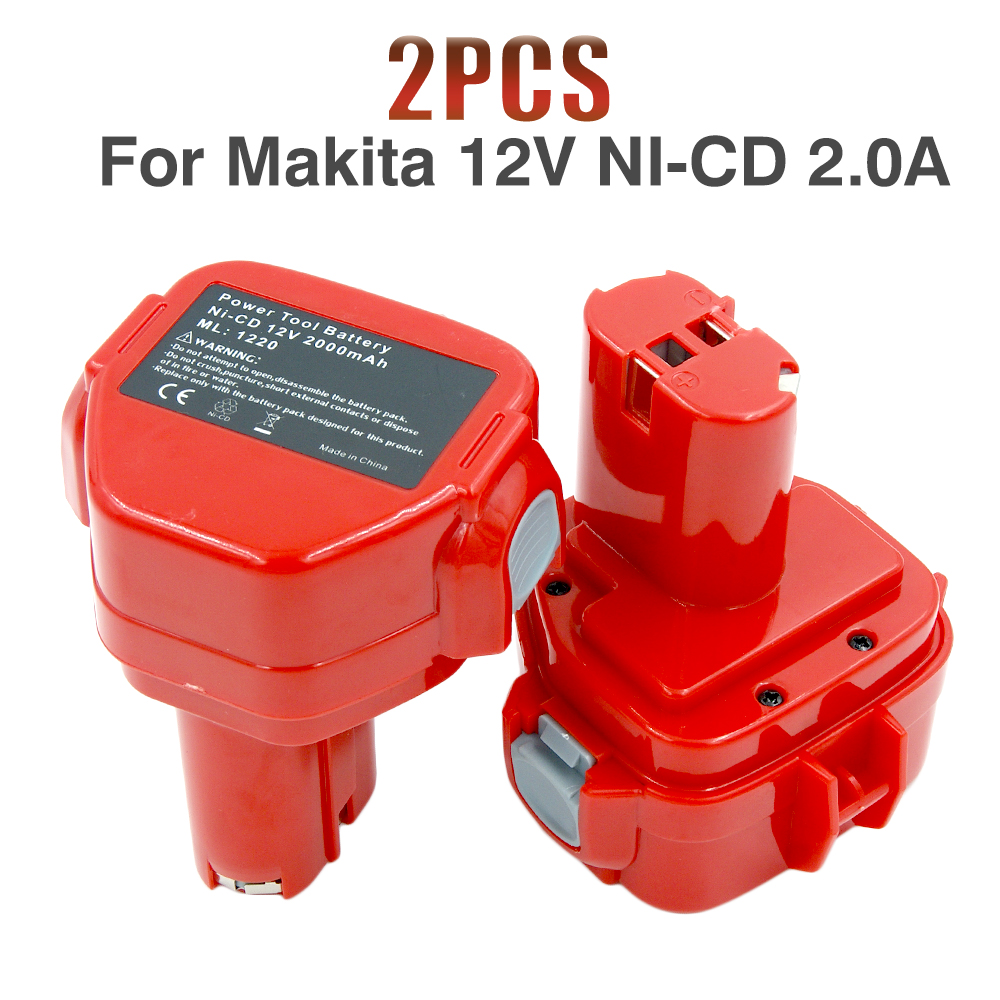 2Pcs Lot 12V Ni CD PA12 2000MAH Replacment Battery For Makita Rechargeable Power Tools 1222 1220
