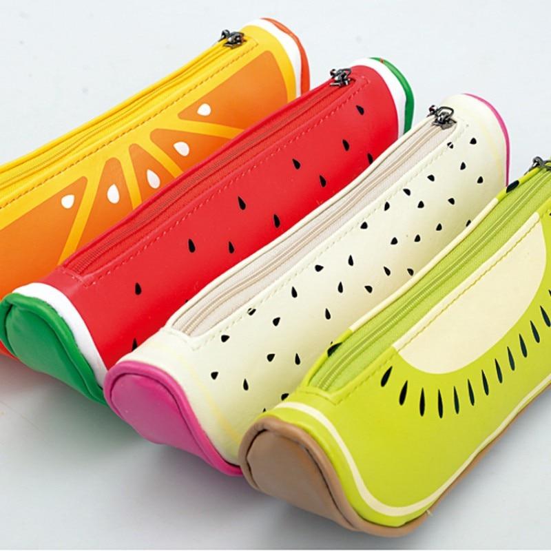 Fruit Style Cute School Pencil Case For Girls Novelty Leather Pencil Bag Kawaii Stationery Zakka Office School Supplies Escolar