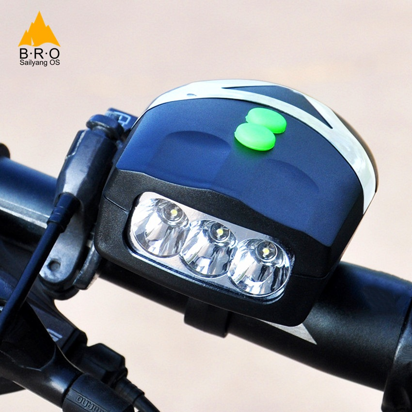 HOT Bicycle Front Lamp + Horns 3 LED Electronic Bike Handlebar Ring Bell Horn Cycling Strong Loud Air Alarm Sound Bicycle Light
