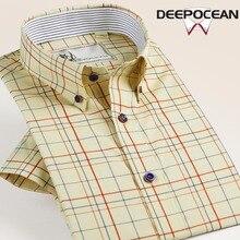 Deepocean Brand Men Shirts Slim Fit Hombres Camisas Fashion Priaid Mens Shirt Tops Cotton Short Dress DaDDX56521S