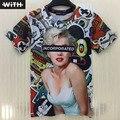 Primavera Verão Venda Quente Das Mulheres Dos Homens T-shirts 3d Rihanna Monroe Cientista Einstein Engraçados Crânio Imprimir Hip Hop T-shirt Promoção YZ625