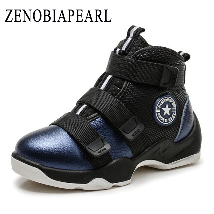 2018 New Winter Fashion Children Genuine Leather Boots Kids Boots Boys Running Shoes Flat with Plush Warmth Sports Sneakers