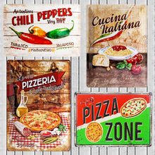 Pizza Zone  Rustic Retro Vintage Tin Sign Bar Pub Home Metal Poster Wall Art Decor Farmhouse