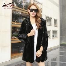 New Luxury mink fur winter real mink fur coat women natrual pieces of mink fur jacket women fashion warm overcoat