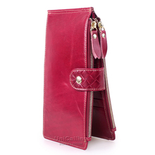 New style Genuine leather women wallets multifunctional zipper hasp Oil Wax Cowhide Double Zipper Solid color much Card holder