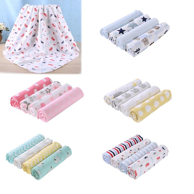 4 pièces/ensemble bébé couvertures literie nourrissons serviette de bain drap de lit coton mignon impression nouveau-nés lange d'emmaillotage couverture de réception