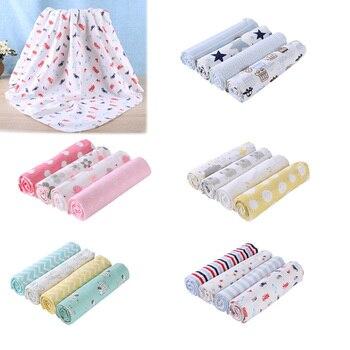 4 unids/set mantas de Bebé Ropa de los bebés Toalla de baño sábana de algodón lindo impresión recién nacidos Swaddle Wrap Manta