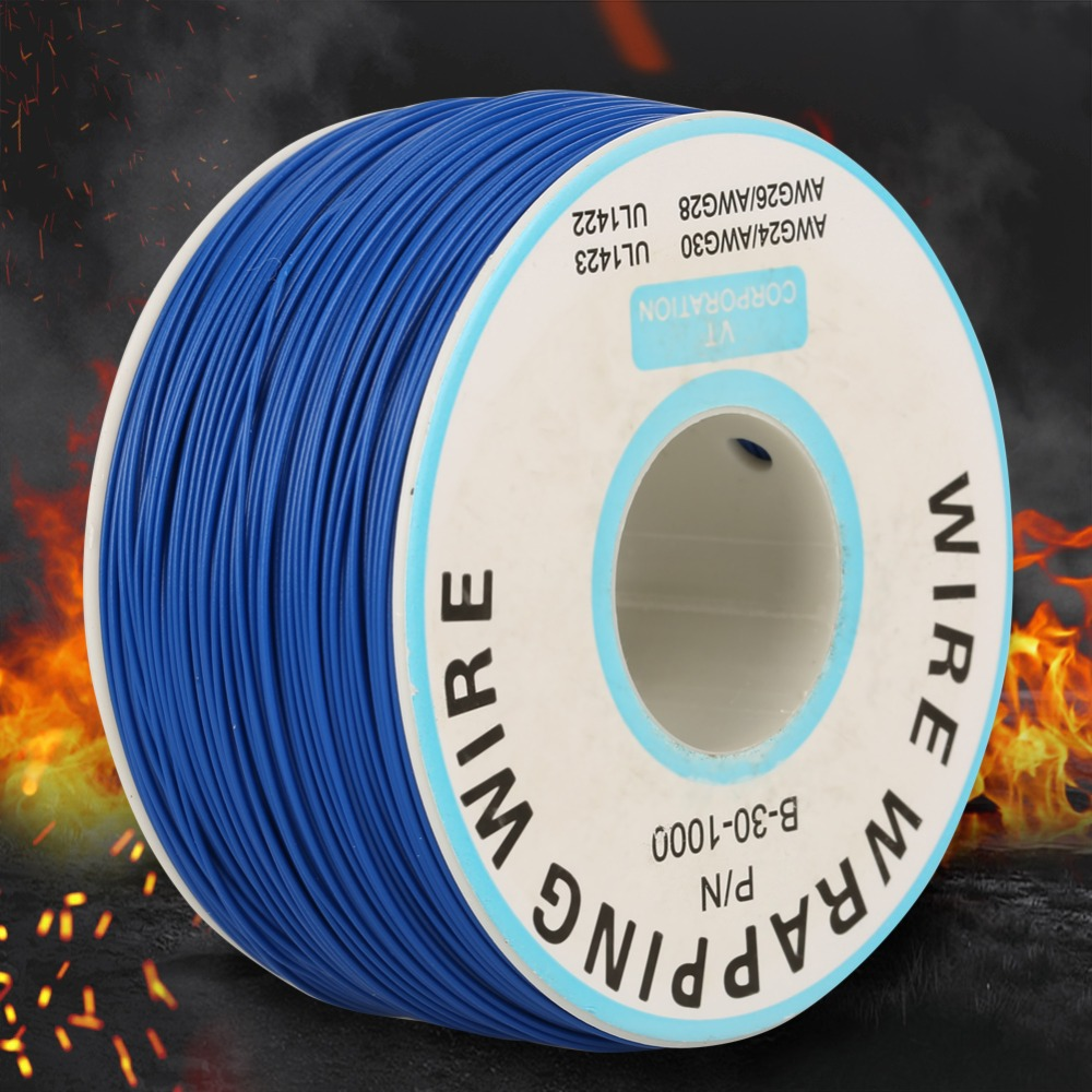 Wire Wrapping Wire 30AWG Single Copper Wire Strand Wire-Wrapping Cable 0.25mm Core Diameter Black Blue Yellow Blue