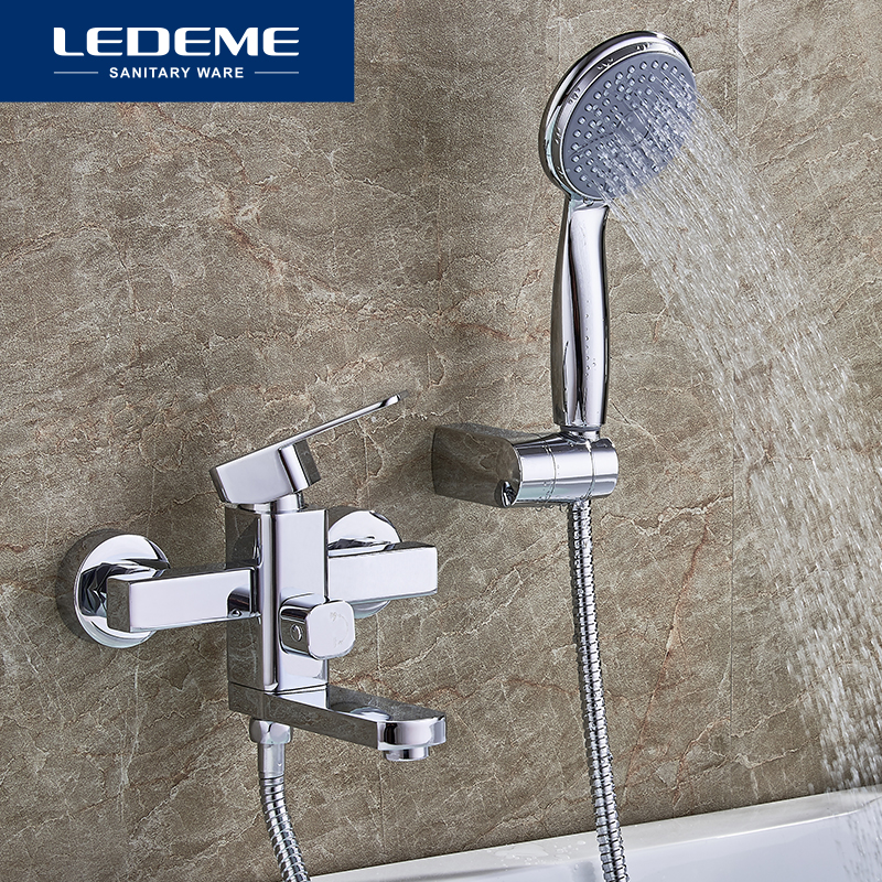 LEDEME Bathtub Faucet Hot And Cold Bath Faucet Bathroom Faucet Set Bathroom Mixer With Hand Spray Shower Head Mixer Taps L3233