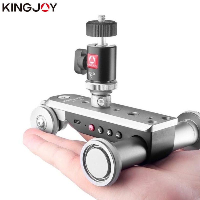 KINGJOY PPL 06S Camera Slider Dolly Car Rail Systems Time Lapse Electric Motorized Dolly Car For Camera Phone Camcorder Dslr