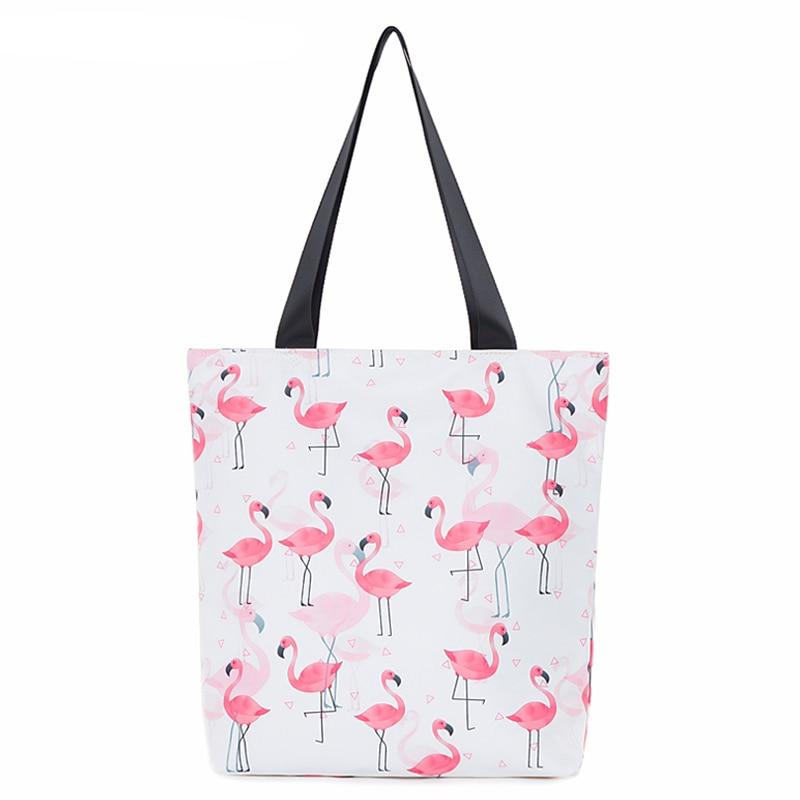 5pcs/lot Wholesale Canvas Tote Bags for Woman Shoulder Flamingo Printed Handbags Durable Foldable Shopping Daily Use Bag