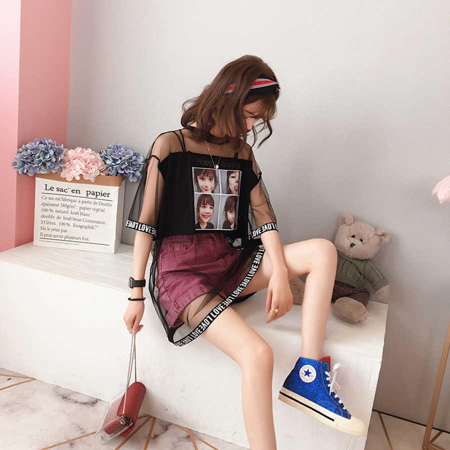 ยาวฤดูร้อน T เสื้อผู้หญิงพิมพ์เซ็กซี่ตาข่ายสไตล์เกาหลีสไตล์ Harajuku Kawaii Ulzzang สีขาว Tshirt Vogue Streetwear 50H0003