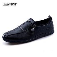 ZENVBNV New 2017 Winter Fashion Zip Pu Leather Retro Fur Warm Shoes Men Flats Heel Light